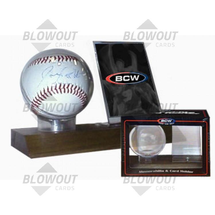Bcw Woodbase Baseball And Card Holder Real Walnut Woodbc