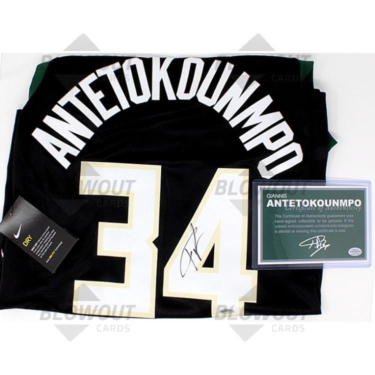 more photos dedb6 1e46a Giannis Antetokounmpo Autographed Jersey (Black) - JSA Certified
