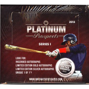 2013 Onyx Authenticated Platinum Prospects Series 1 - 6 Box Case