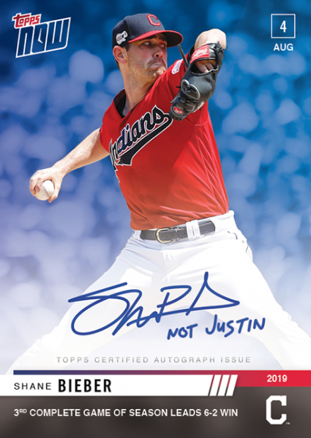 Topps Owns Bieber Error With Topps Now Card For Not Justin